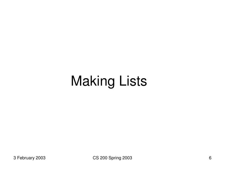 Making Lists