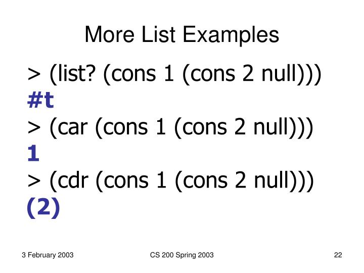 More List Examples