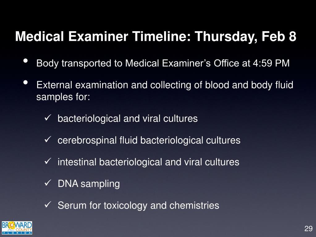 Medical Examiner Timeline: Thursday, Feb 8