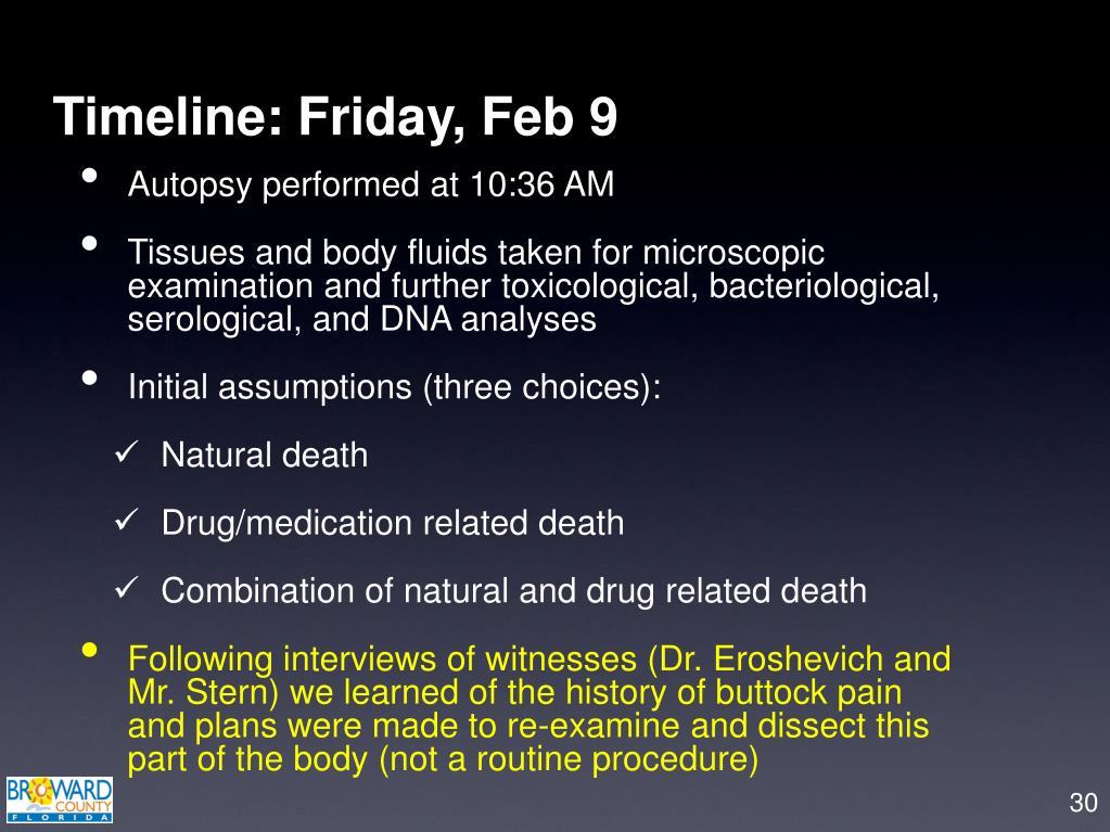 Timeline: Friday, Feb 9