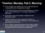 timeline monday feb 5 morning