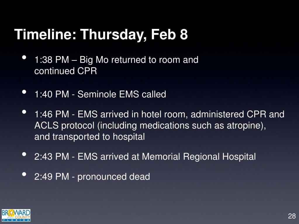 Timeline: Thursday, Feb 8