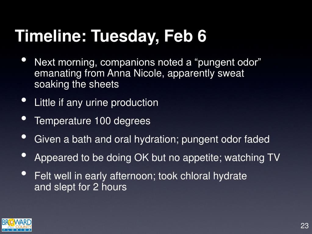 Timeline: Tuesday, Feb 6