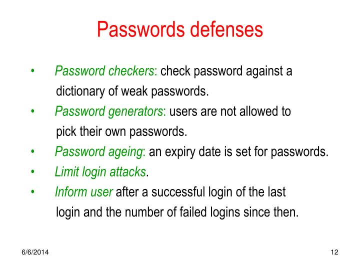 Passwords defenses
