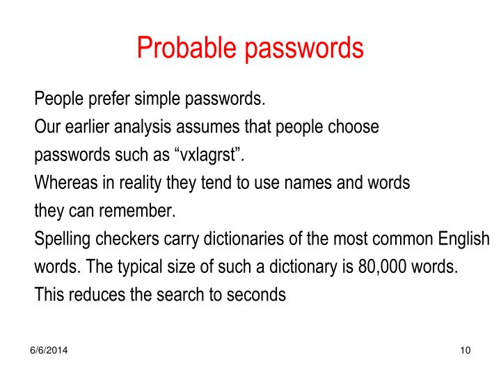 Probable passwords