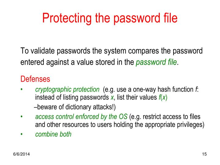 Protecting the password file