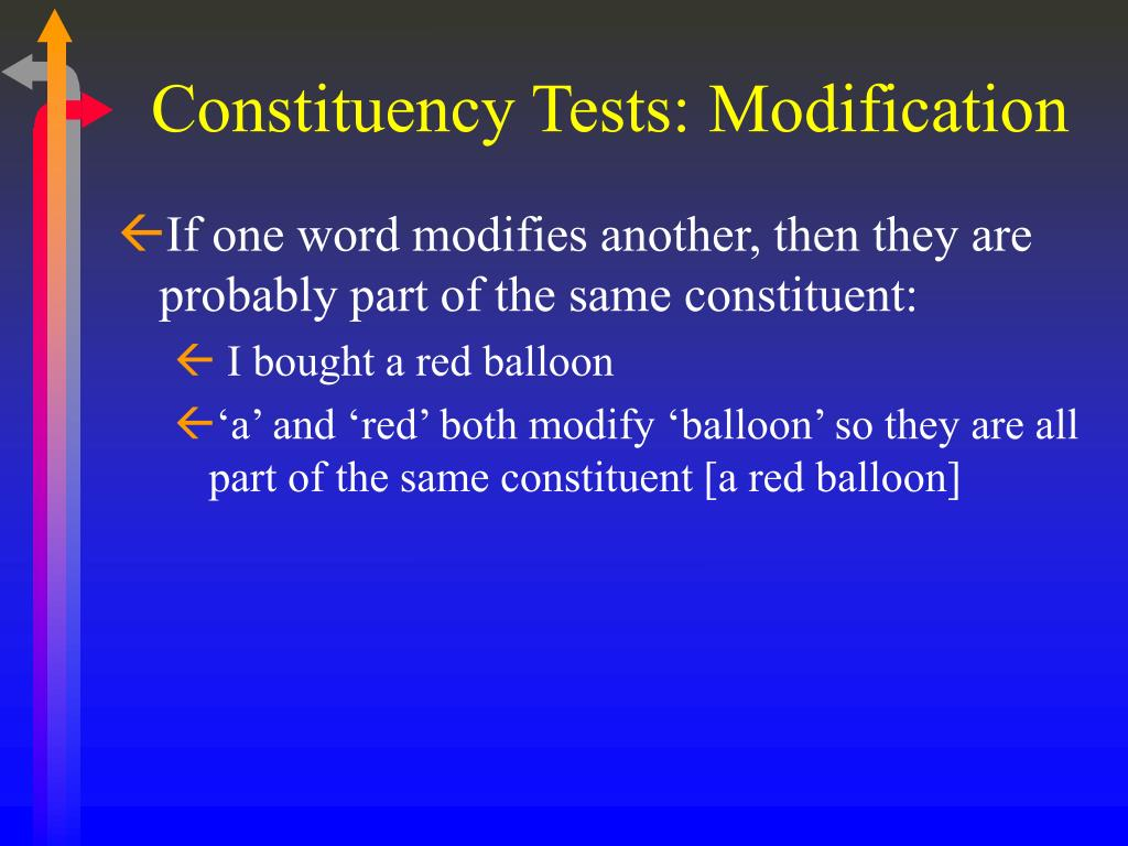 Constituency Tests: Modification