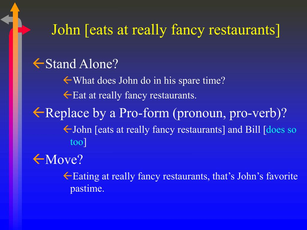 John [eats at really fancy restaurants]