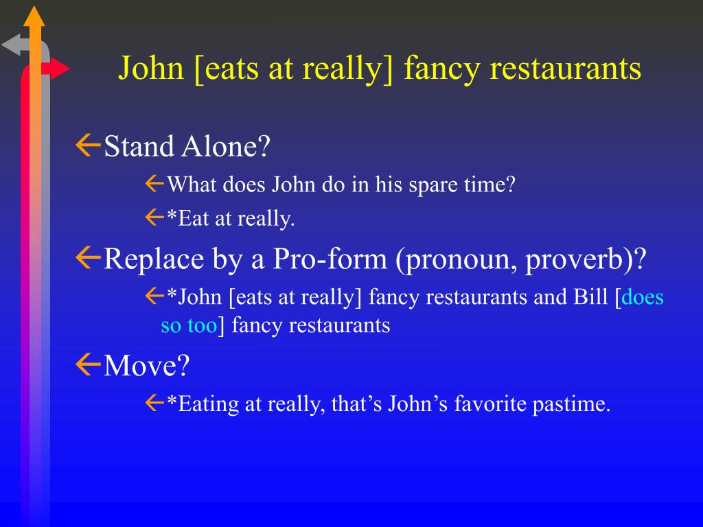 John [eats at really] fancy restaurants