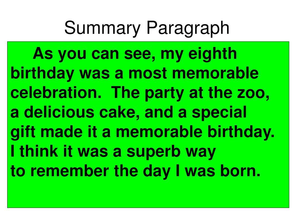 Summary Paragraph