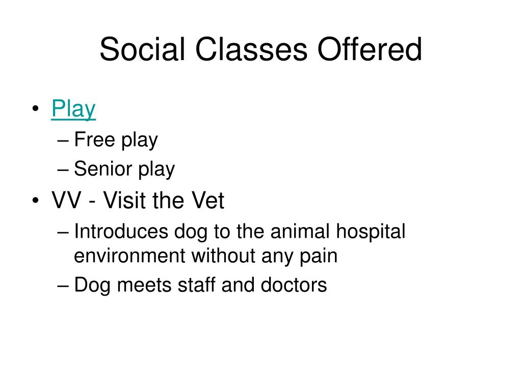 Social Classes Offered