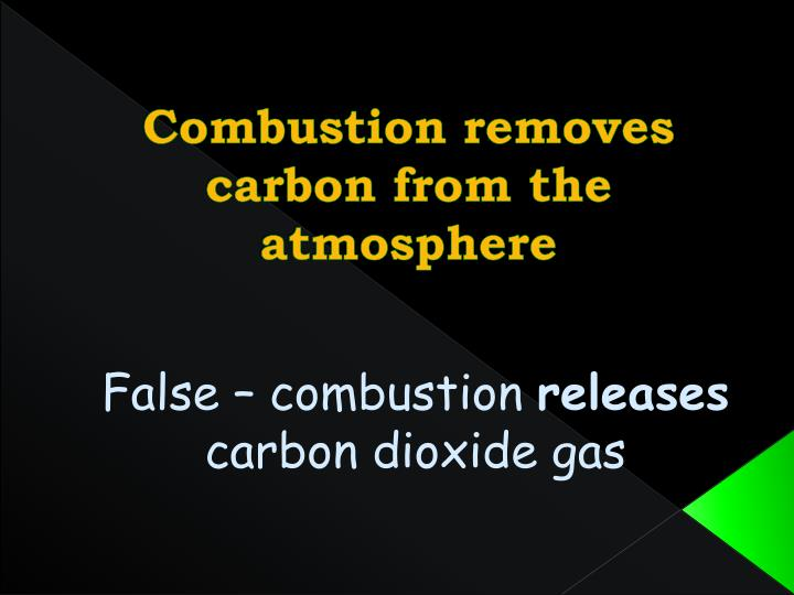 Combustion removes carbon from the atmosphere