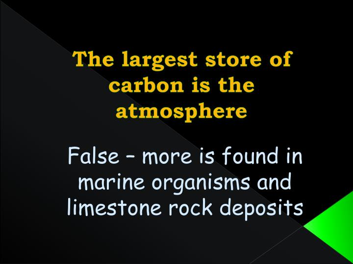 The largest store of carbon is the atmosphere