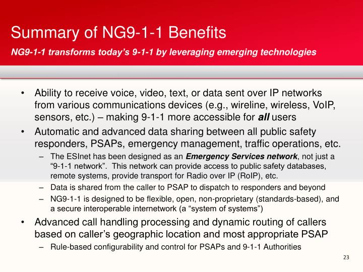 Summary of NG9-1-1 Benefits