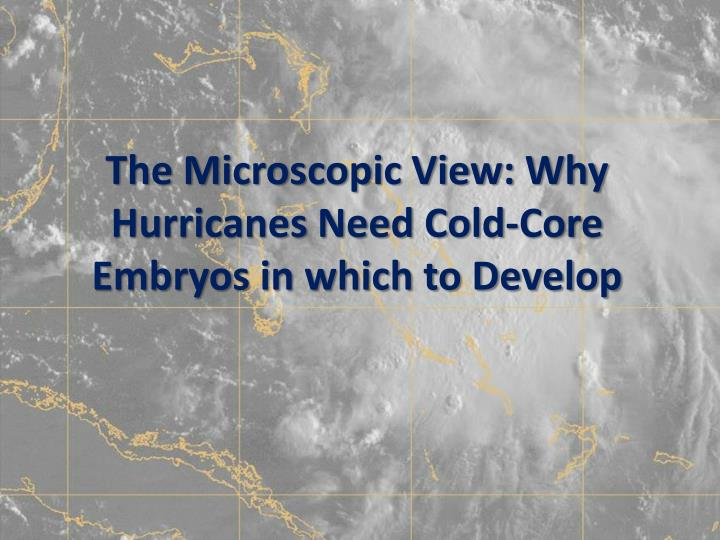 The Microscopic View: Why Hurricanes Need Cold-Core Embryos in which to Develop