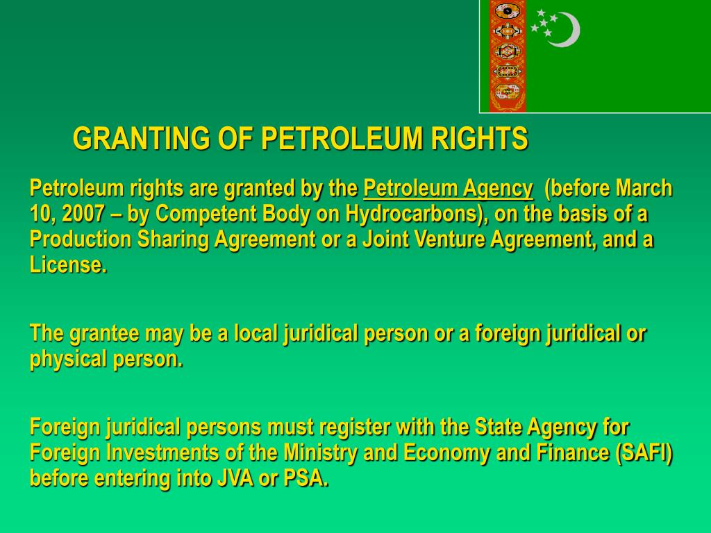 GRANTING OF PETROLEUM RIGHTS