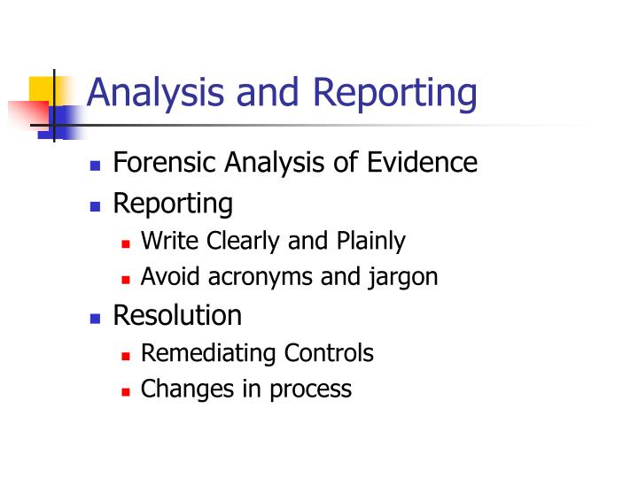 Analysis and Reporting