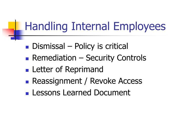 Handling Internal Employees