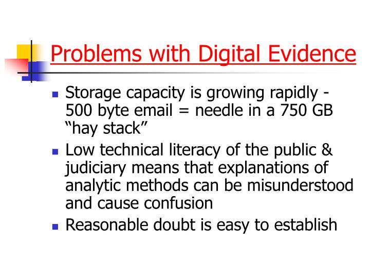 Problems with Digital Evidence