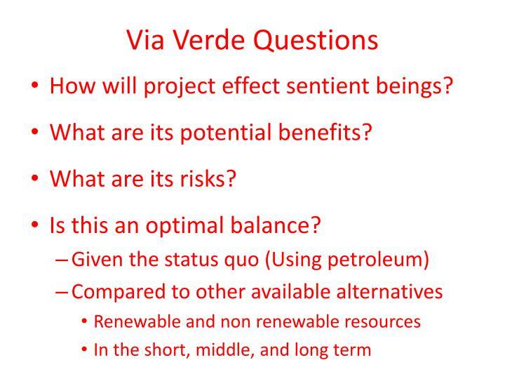 Via Verde Questions