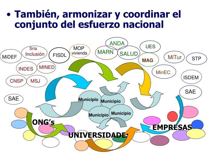 También, armonizar y coordinar el conjunto del esfuerzo nacional