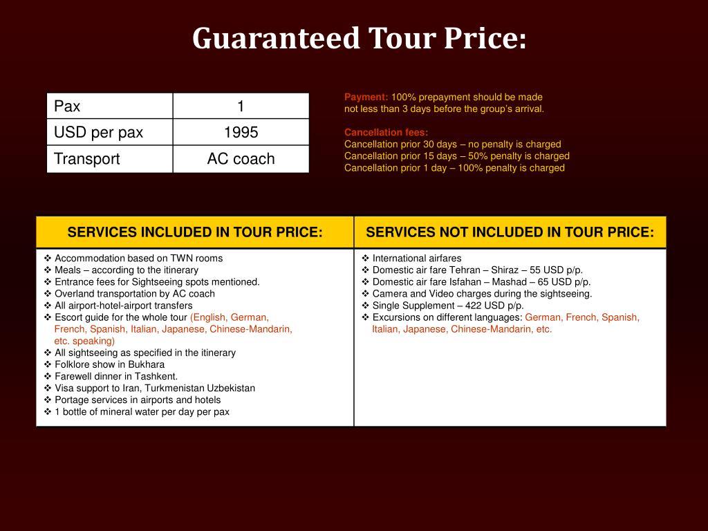 Guaranteed Tour Price: