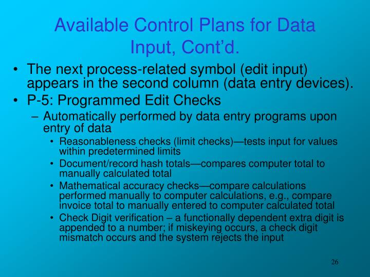 Available Control Plans for Data Input, Cont'd.