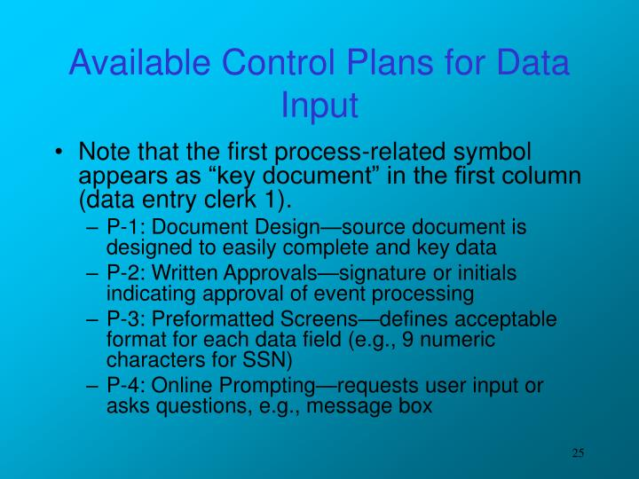 Available Control Plans for Data Input