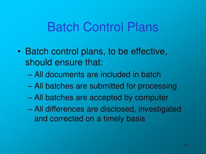 Batch Control Plans