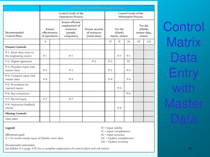 Control Matrix Data Entry with Master Data