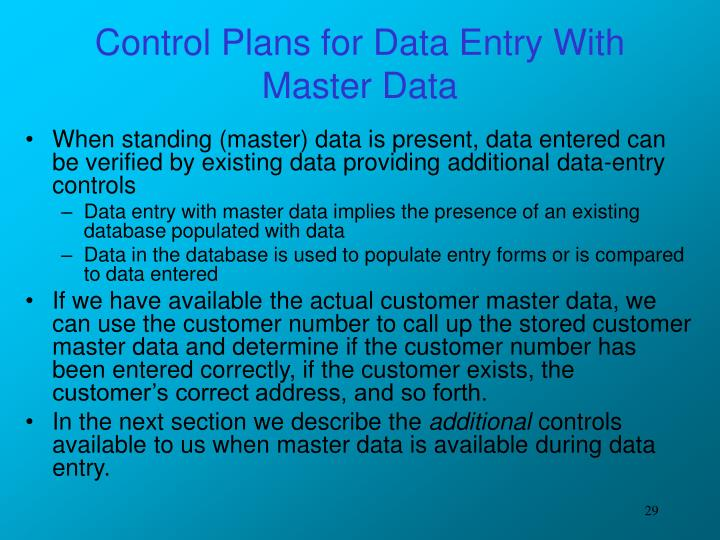 Control Plans for Data Entry With Master Data