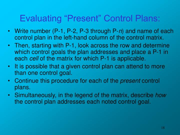 "Evaluating ""Present"" Control Plans:"