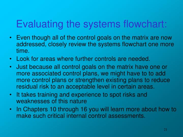 Evaluating the systems flowchart: