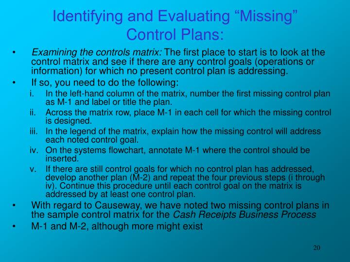 "Identifying and Evaluating ""Missing"" Control Plans:"
