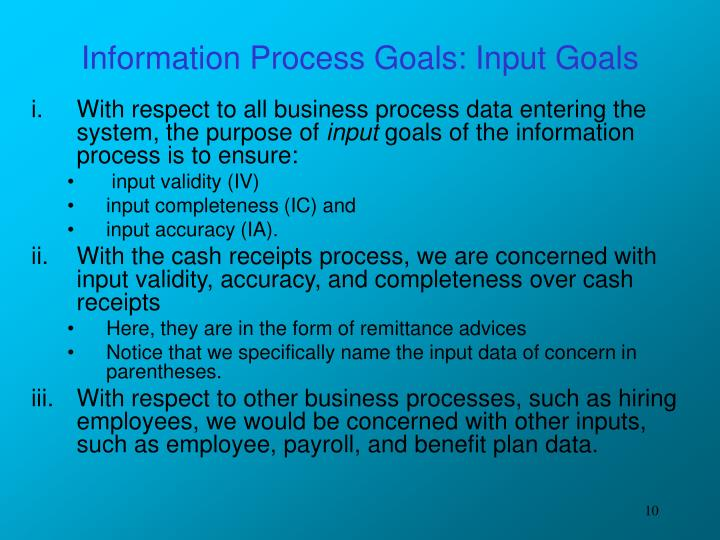 Information Process Goals: Input Goals
