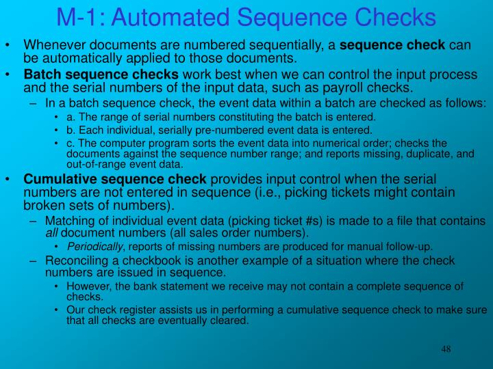 M-1: Automated Sequence Checks