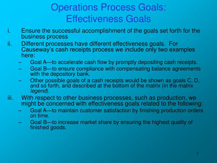 Operations Process Goals: