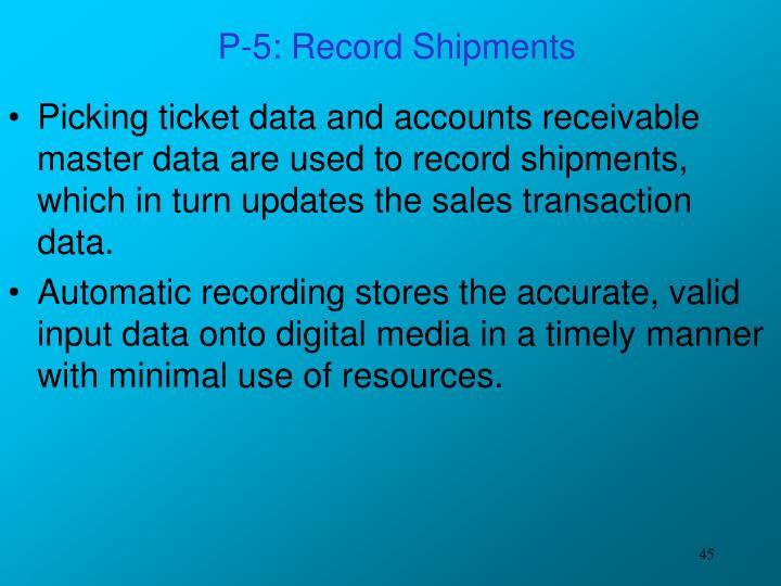 P-5: Record Shipments