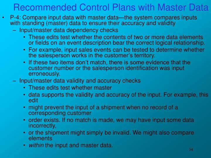 Recommended Control Plans with Master Data