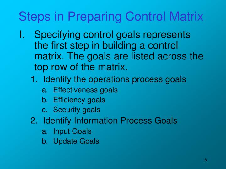 Steps in Preparing Control Matrix