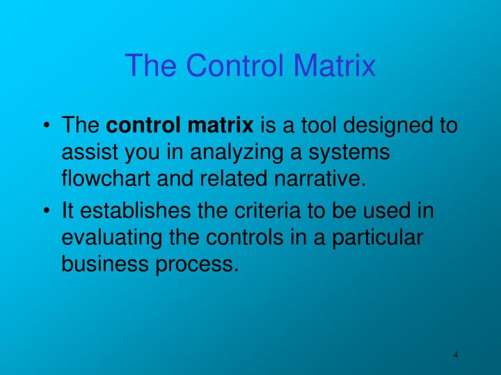 The Control Matrix