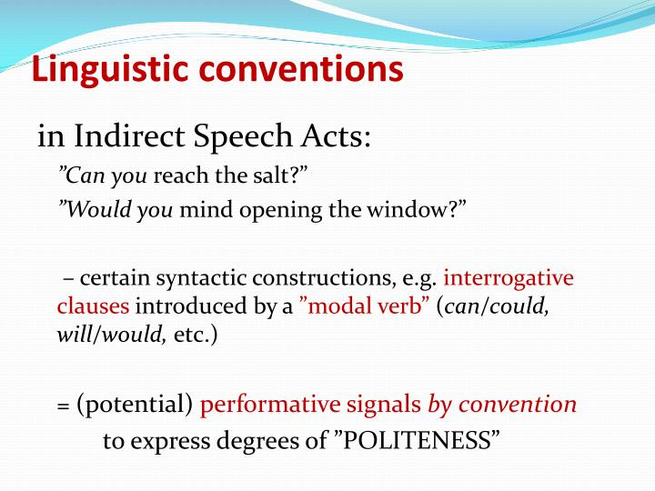 Linguistic conventions