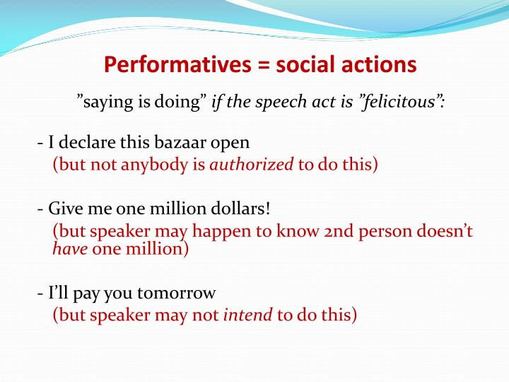 Performatives social actions