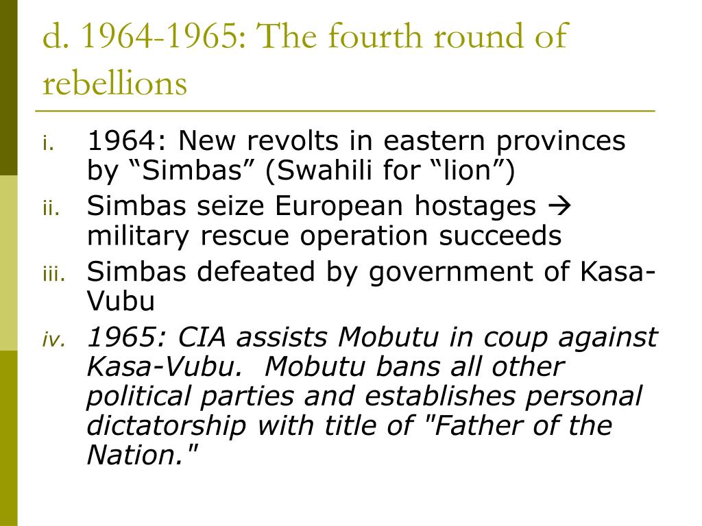 d. 1964-1965: The fourth round of rebellions
