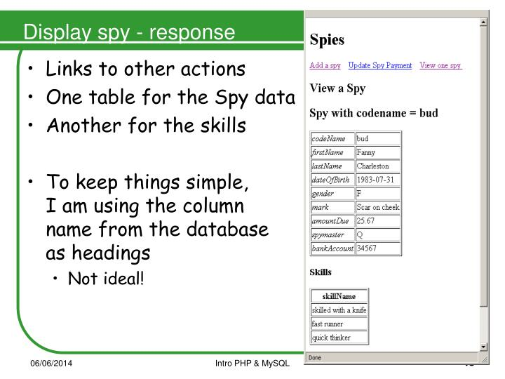 Display spy - response