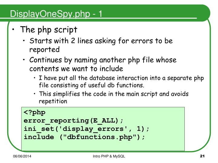 DisplayOneSpy.php - 1