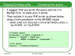 displayonespy php creating the query