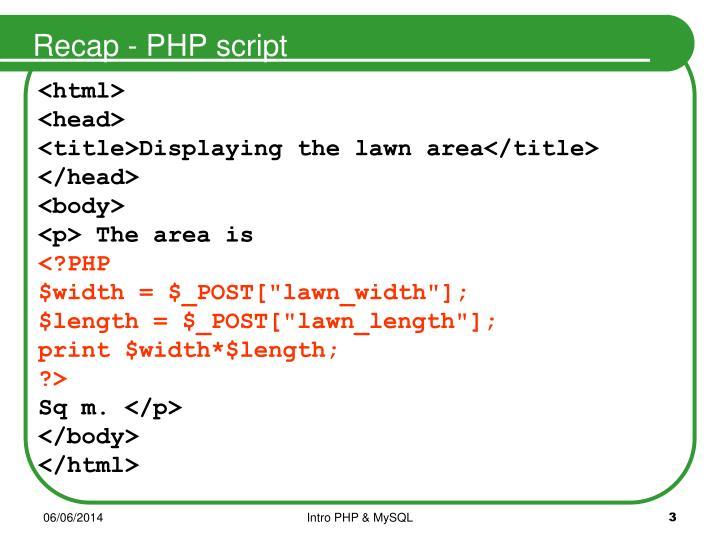 Recap - PHP script