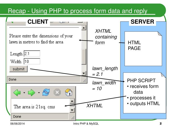 Recap using php to process form data and reply