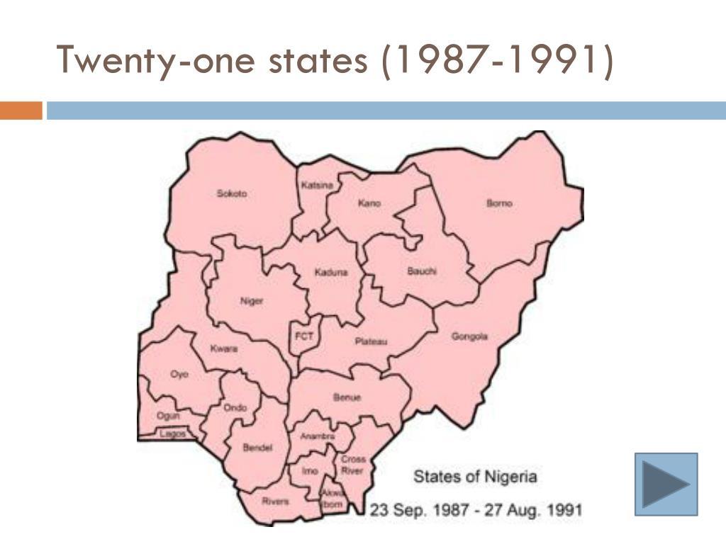 Twenty-one states (1987-1991)